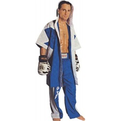 Boxing Robe blue with zig/zag white
